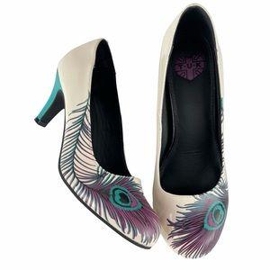 TUK Peacock Pattern Pinup Style Heels, 7